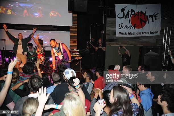PeelanderGreen Mika Yoshimura of BoPeep and PeelanderPurple perform with PeelanderZ at Live Wire on March 26 2015 in Athens Georgia