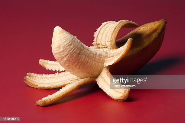 A peeled banana suggestive of an erect penis
