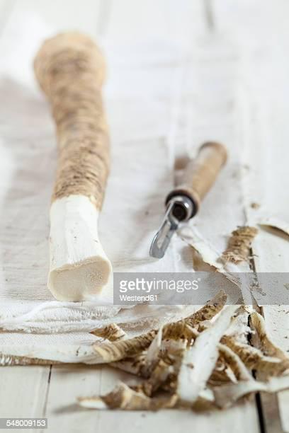 Peeled horseraddish on cloth