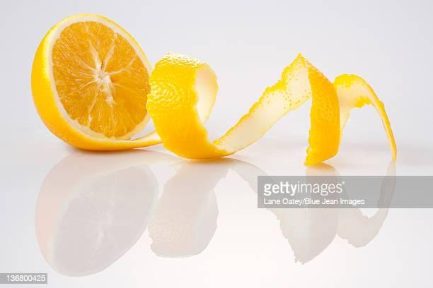 Peeled Orange on White Background
