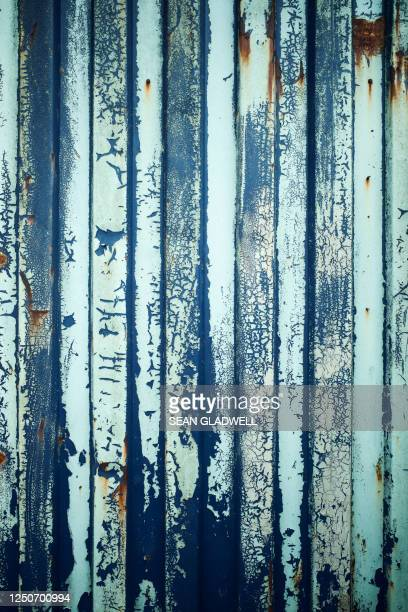 peeling paint corrugated steel - heavy metal stock pictures, royalty-free photos & images