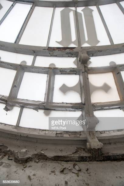 Peeling paintwork on the interior of one of the four clock faces within the Elizabeth Tower ahead of the bell ceasing to ring on Monday at the Palace...