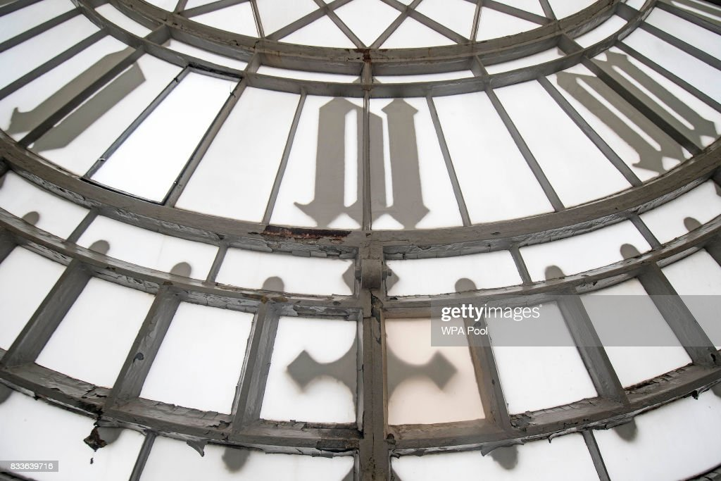 Peeling paintwork on the interior of one of the four clock faces within the Elizabeth Tower ahead of the bell ceasing to ring on Monday at the Palace of Westminster on August 17, 2017 in London, England.