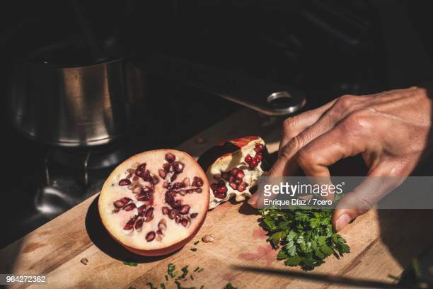 Peeling Pomegranate and Chopping Coriander 1