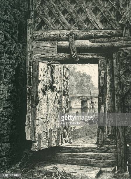 A Peep through the Gateway Chepstow Castle' circa 1870 Construction of Chepstow Castle on the River Wye in Monmouthshire Wales began in 1067 under...