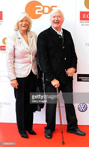 Peer Augustinski with his wife arrive to the Echo Klassik Award 2010 at Philharmonie on October 17, 2010 in Essen, Germany.