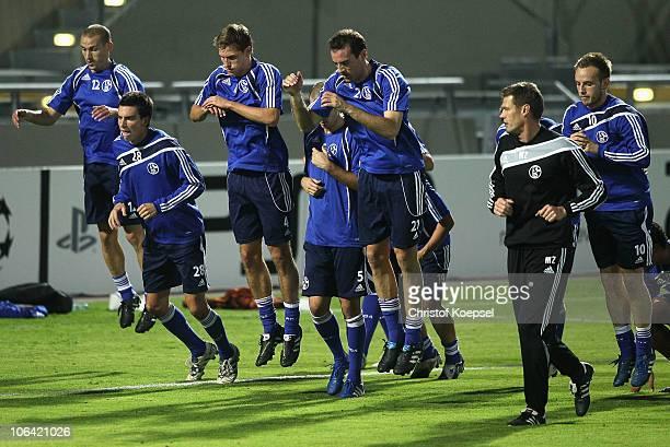 Peer Kluge, Christoph Moritz, Benedikt Hoewedes, Christoph Metzelder, condition coach Markus Zeltmeisl and Ivan Rakitic attend a FC Schalke 04...