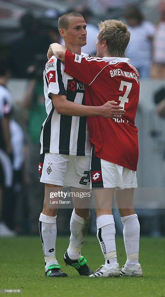 Peer Kluge of Monchengladbach, who scored the second goal, puts his arms around Marko Marin after the Bundesliga match between Borussia Monchengladbach and Bayern Munich at the Borussia Park on May 5, 2007 in Monchengladbach, Germany.