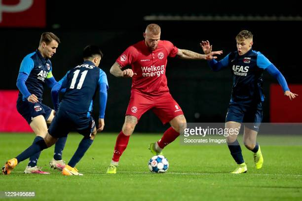 Peer Koopmeiners of AZ Alkmaar U23, Yusuf Barasi of AZ Alkmaar U23, Thomas Verheydt of Almere City, Jorn Berkhout of AZ Alkmaar U23 during the Dutch...