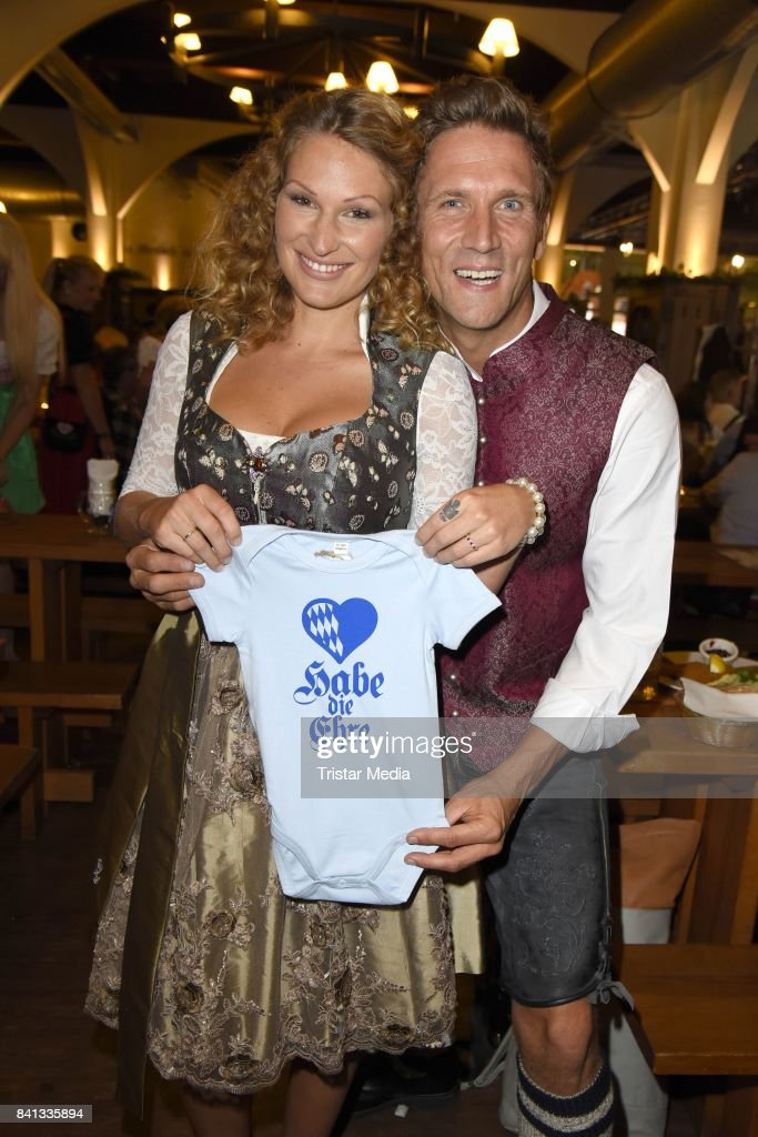 Peer Kusmagk and his girlfriend Janni Hoenscheid during the Angermaier Trachten-Nacht at Hofbraeuhaus on August 31, 2017 in Berlin, Germany.