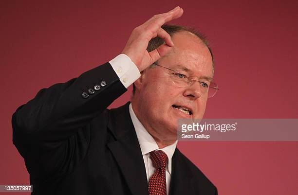 Peer Steinbrueck a leading member of the German Social Democrats speaks on the third day of the SPD annual federal party congress on December 6 2011...