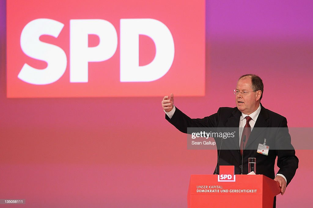 Peer Steinbrueck, a leading member of the German Social Democrats (SPD), speaks on the third day of the SPD annual federal party congress on December 6, 2011 in Berlin, Germany. The SPD is Germany's biggest opposition party and has seen its popularity rise in the last year as the current German government coalition of Christian Democrats and Free Democrats has faced political stumbling blocks.