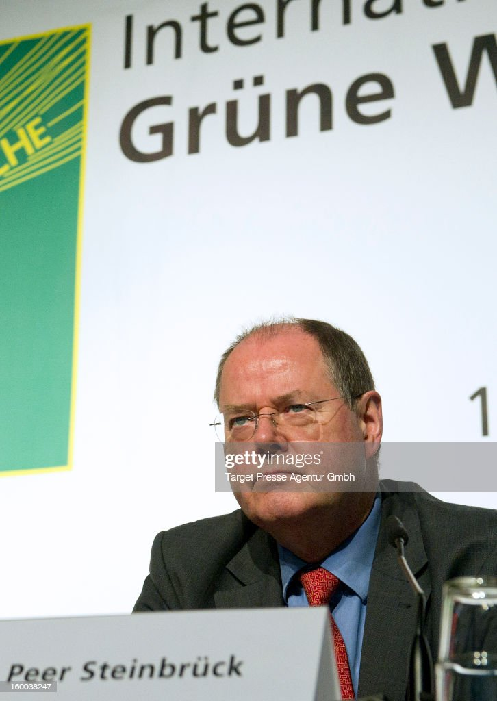 Peer Steinbrueck, chancellor candidate for the German Social Democrats (SPD), tours the 2013 Gruene Woche agricultural trade fair on January 25, 2013 in Berlin, Germany. Steinbrueck is the main opposite candidate to face German Chancellor and Christian Democrat Angela Merkel in elections scheduled for later this year, though his popularity tatings have dropped significantly in recent month.