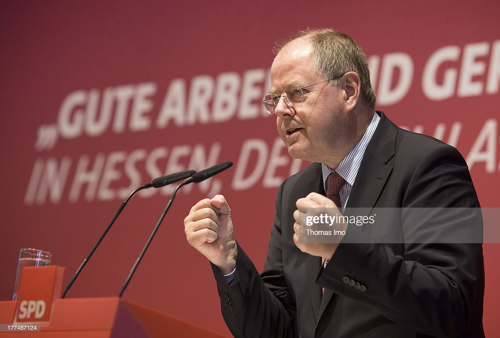 Peer Steinbrueck, chancellor candidate of the German social democratic (SPD), speaks at the conference 'Good work and fair wages' (Gute Arbeit und gerechte Loehne) on August 23, 2013 in Offenbach am Main, Germany.