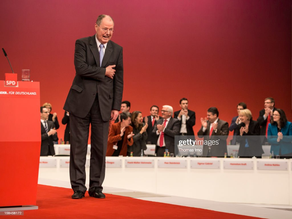 Peer Steinbrueck, chancellor candidate of the German Social Democrats (SPD), is pictured after his speech at the SPD federal party convention on December 9, 2012 in Hanover, Germany. The SPD is convening to set its policy course for the next year and to celebrate Steinbrueck, who will run for chancellor in elections set for 2013.