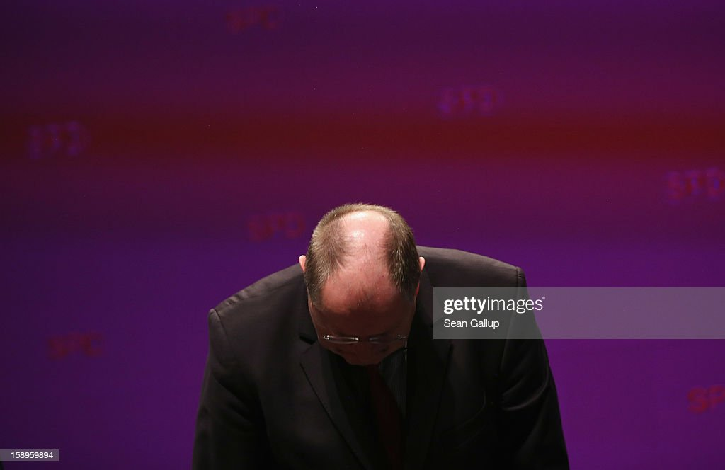 Peer Steinbrueck, chancellor candidate of the German Social Democrats (SPD), bows after speaking at a Lower Saxony SPD state election rally on January 4, 2013 in Emden, Germany. Lower Saxony is holding state elections on January 20 and many analysts see the election as a bellwether for national elections, in which Steinbrueck will run for chancellor, scheduled to take place later this year.