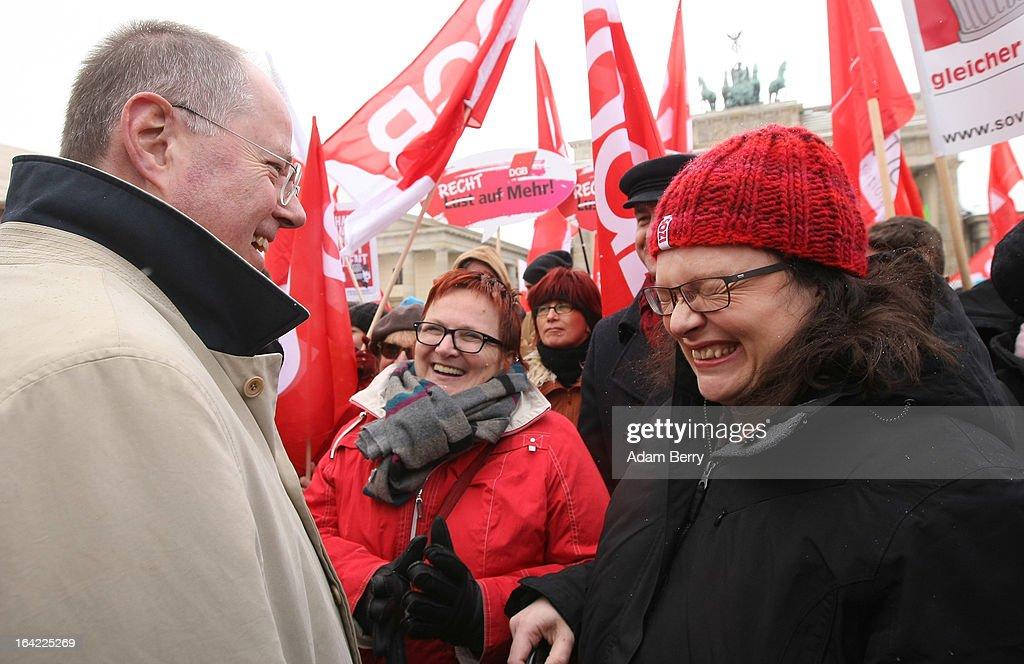 Steinbrueck Holds Rally At Brandenburg Gate