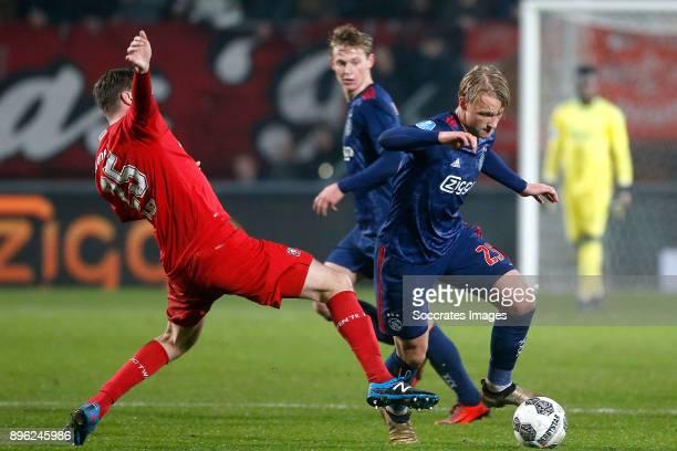 Peet Bijen of FC Twente Kasper Dolberg of Ajax during the Dutch KNVB Beker match between Fc Twente v Ajax at the De Grolsch Veste on December 20 2017...