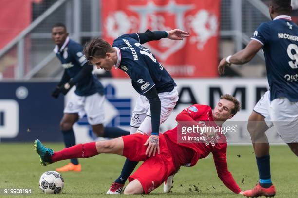Peet Bijen of FC Twente Michiel Kramer of Sparta Rotterdam during the Dutch Eredivisie match between FC Twente Enschede and Sparta Rotterdam at the...