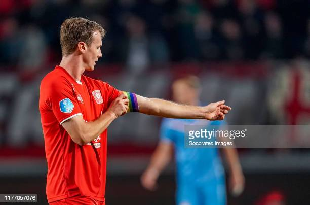 Peet Bijen of FC Twente with the rainbow captains band during the Dutch Eredivisie match between Fc Twente v Willem II at the De Grolsch Veste on...