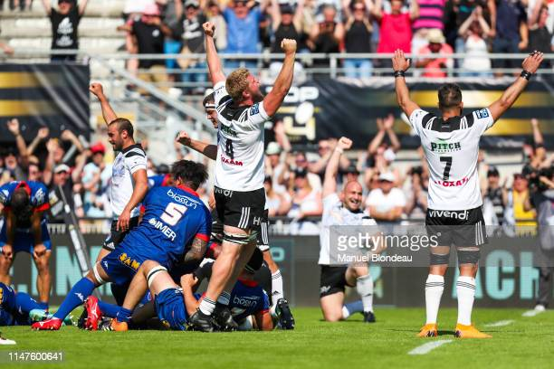 Peet Marais of Brive celebrates during the Top 14 barrages match between Brive and Grenoble on June 2, 2019 in Brive, France.