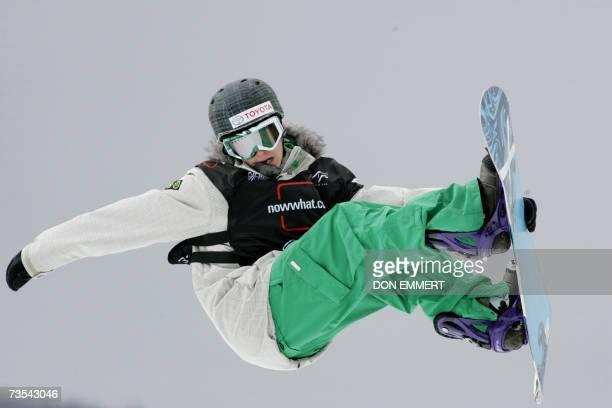 Peetu Piiroinen of Finland flies through the air during the men's FIS World Cup Snowboard Halfpipe 10 March 2007 in Wilmington, NY. Piiroinen...