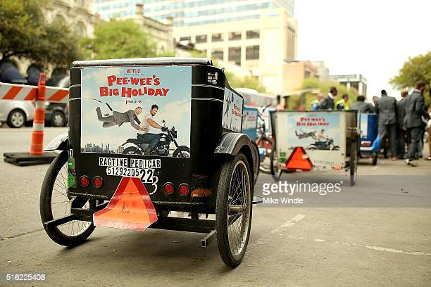Peewee themed pedicabs are seeing outside the premiere of Peewee's Big Holiday during the 2016 SXSW Music Film Interactive Festival at Paramount...