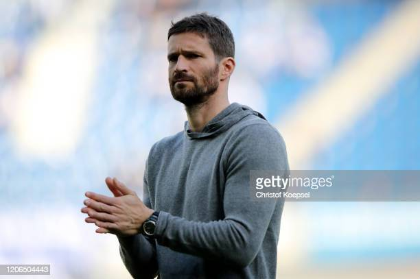 Peformance manager Arne Friedrich of Berlin looks on prior to the Bundesliga match between SC Paderborn 07 and Hertha BSC at Benteler Arena on...