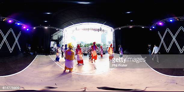 Peformers sing and dance on stage during the Auckland Diwali Festival on October 15 2016 in Auckland New Zealand The festival is a celebration of...