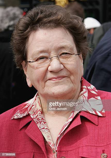 Peggy Bogue from Eniskillen in Ireland is seen before attending the Queen's 80th Birthday Lunch on April 19, 2006 at Buckingham Palace in London,...