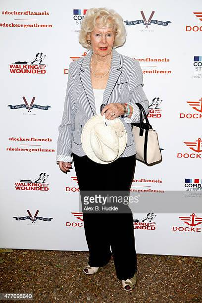 Peggy Cummins attends the Dockers Flannels For Heroes Charity Cricket Match and Garden Party at the Bruton Gardens Royal Hospital Chelsea on June 19...