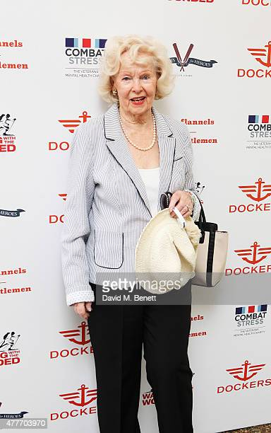 Peggy Cummins attends the Flannels for Heroes charity cricket match and garden party hosted by menswear brand Dockers at Burtons Court on June 19...