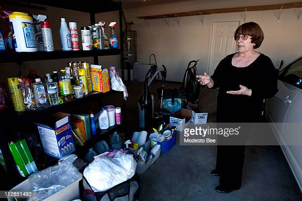 Peggy Gardiner explains how she organizes her garage at her home in Riverbank California December 27 2009 Gardiner teaches a community education...