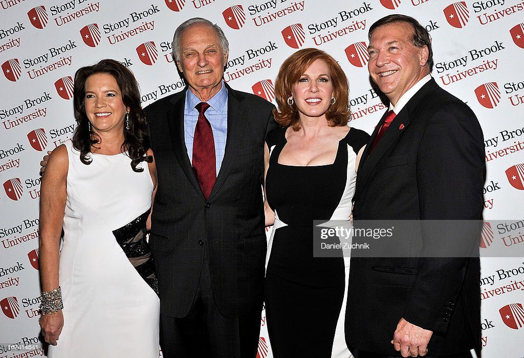 Peggy Gelfond, Alan Alda, Liz Claman and Samuel L. Stanley Jr. attend the 2013 Stars Of Stony Brook Gala at Pier 60 on April 24, 2013 in New York City.