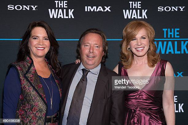 Peggy Gelfond CEO of IMAX Corporation Rich Gelfond and Liz Claman attend The Walk IMAX Special screening at the AMC Lincoln Square Theater on...