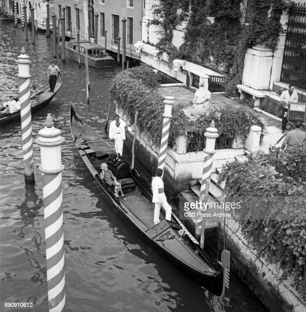 Peggy Guggenheim is filmed arriving via gondola while being featured in the CBS cultural and public affairs program 'Accent' The program was filmed...