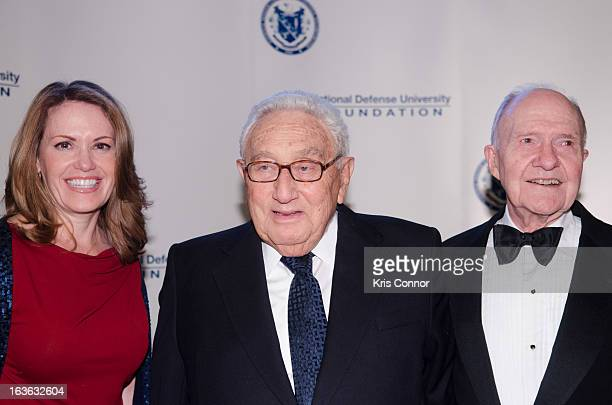 Peggy Johnson Brent Scowcroft and Henry Kissinger attend the National Defense University Foundation's International Statesman and Business Advocate...
