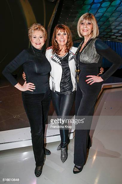 Peggy March Ireen Sheer and Cindy Berger during the TV show 'Willkommen bei Carmen Nebel' on March 19 2016 in Magdeburg Germany