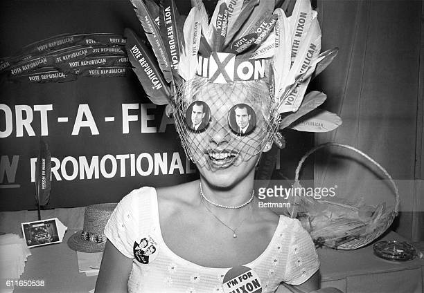 Peggy Miller of Chicago only has eyes for Nixon as she sports a headdress of feathers in support of her favorite candidate for the GOP Presidential...