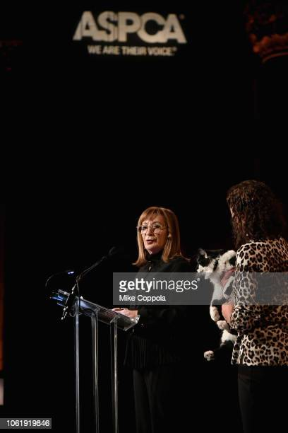 Peggy Musen Cat of the Year Honoree DOG and Nadine Wenig speaks at the the ASPCA Hosts 2018 Humane Awards Luncheon at Cipriani 42nd Street on...
