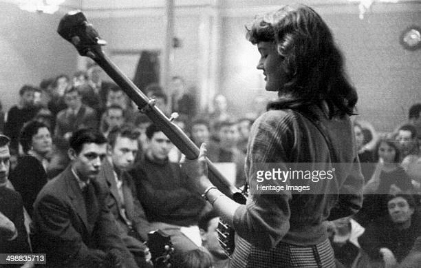 Peggy Seeger Enterprise Public House Long Acre London late 1950searly 1960s Americanborn musician singer and songwriter Seeger at a folk club session