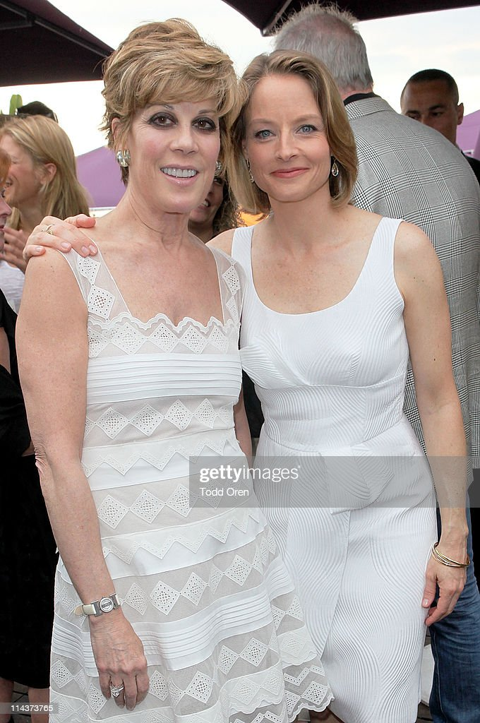 Peggy Siegal and actress Jodie Foster attend the Hollywood Reporter honors Jodi Foster for 'The Beaver' hosted by vitaminwater at Z Plage vitaminwater on May 18, 2011 in Cannes, France.