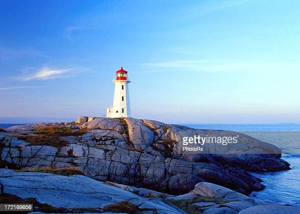 Peggy's Cove lighthouse at sunrise