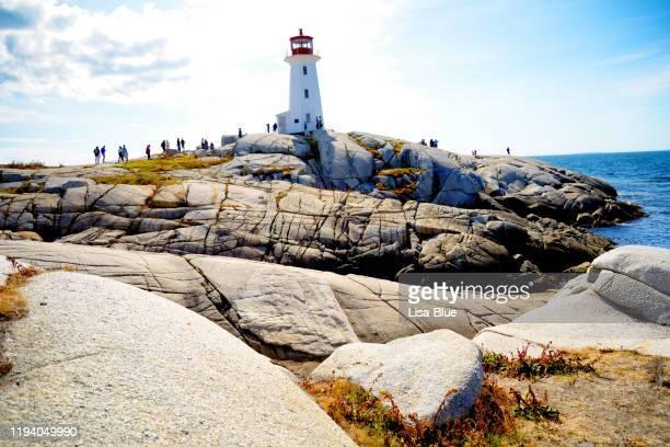 peggy,s cove lighthouse, nova scotia, canada - cape breton island stock pictures, royalty-free photos & images