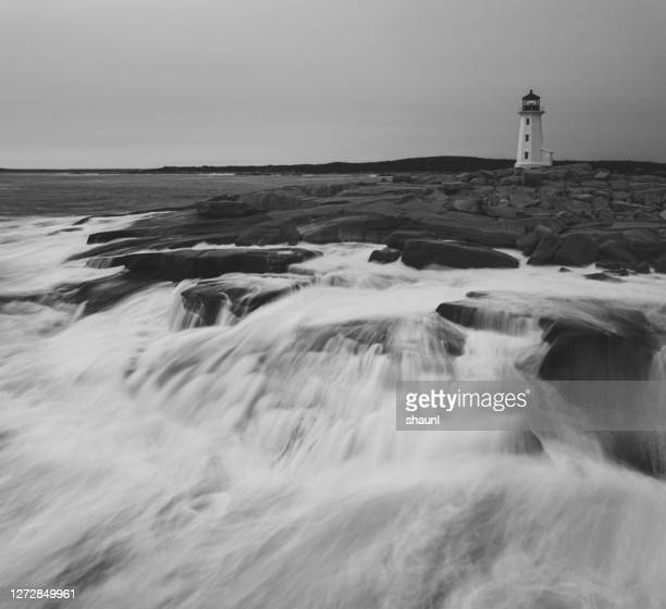 peggy's cove lighthouse - seascape stock pictures, royalty-free photos & images