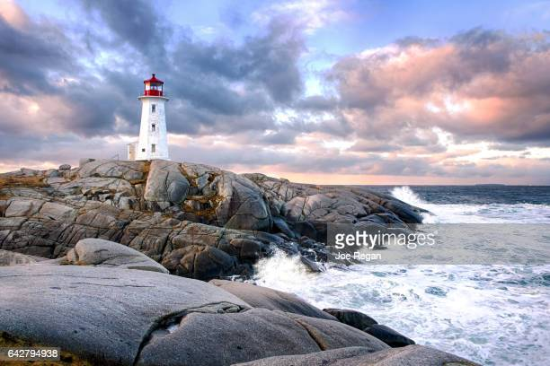 peggy's cove lighthouse - canada stock pictures, royalty-free photos & images