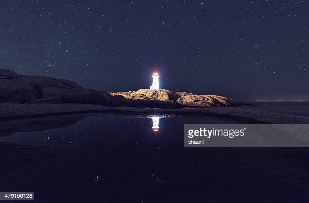 Peggy's Cove Lighthouse spiegelt