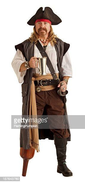 Pegleg pirate holds a silver mug