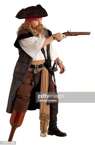 Pegleg Pirate taking aim with Flintlock Pistol. Isolated on White.