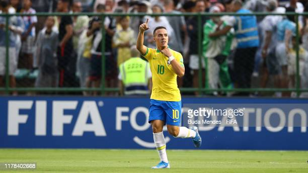 Peglow of Brazil celebrates a goal during the FIFA U17 Men's World Cup Brazil 2019 group A match between Brazil and Canada at Valmir Campelo Bezerrao...